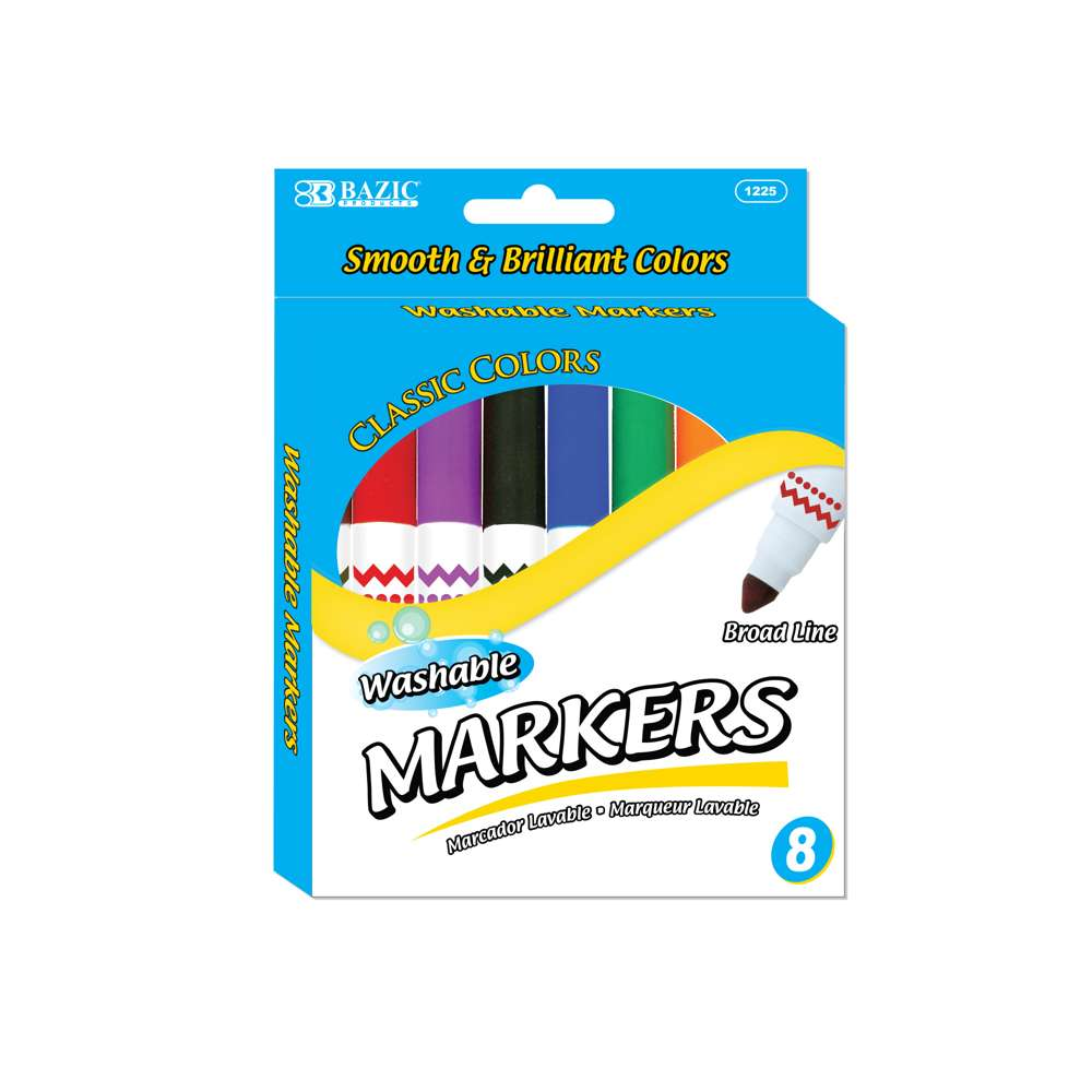 8 Color Broad Line Jumbo Washable Markers - Bazicstore