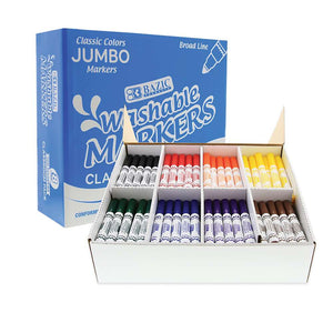 8 Color Broad Line Jumbo Washable Markers Classroom Pack (200/Pack) - Bazicstore