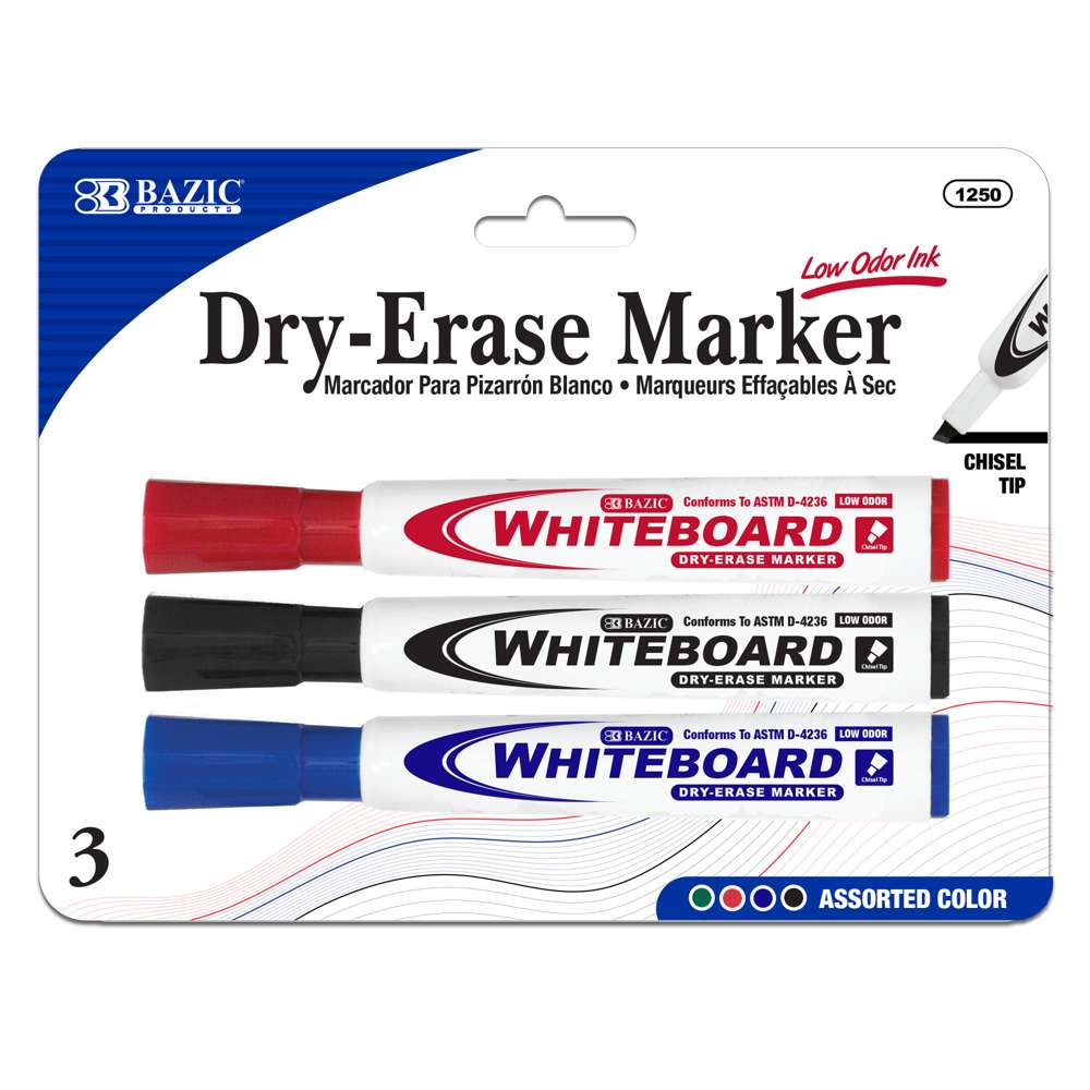 Assorted Color Chisel Tip Dry-Erase Markers (3/Pack) - Bazicstore