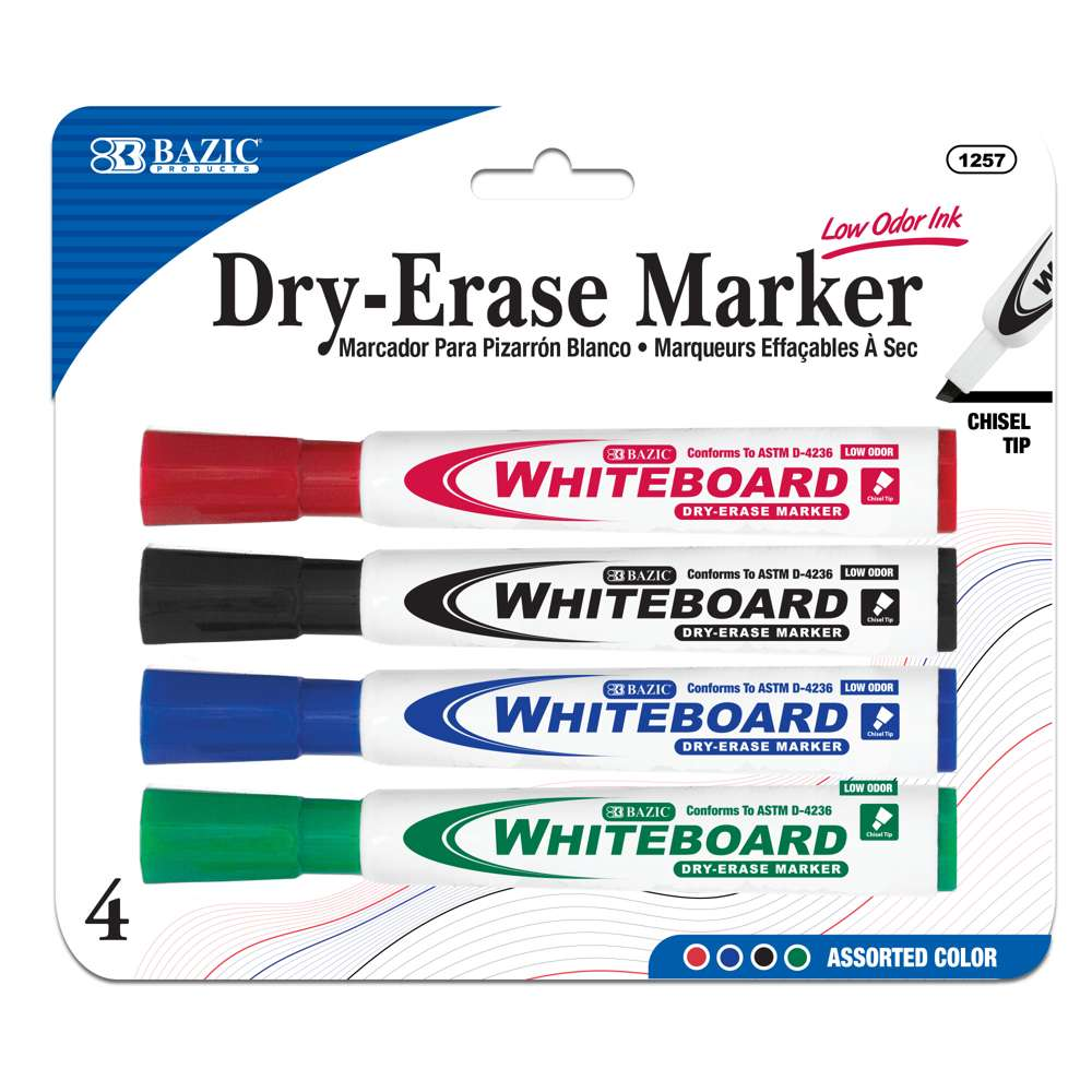 BAZIC Assorted Color Chisel Tip Dry-Erase Markers (4/Pack)