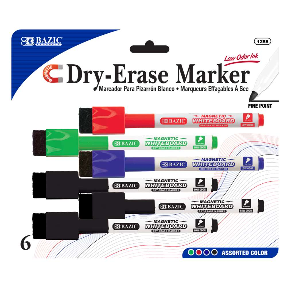 Assorted Color Magnetic Dry-Erase Markers (6/Pack) - Bazicstore