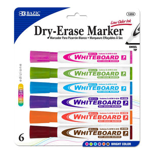 Bright Color Chisel Tip Dry-Erase Markers (6/Pack)