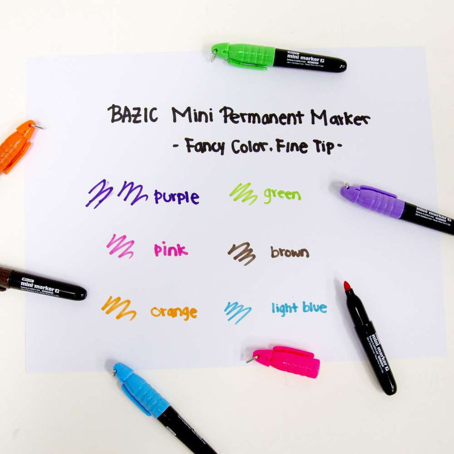 Fancy Colors Mini Fine Point Permanent Marker w/ Cap Clip (6/Pack) - Bazicstore