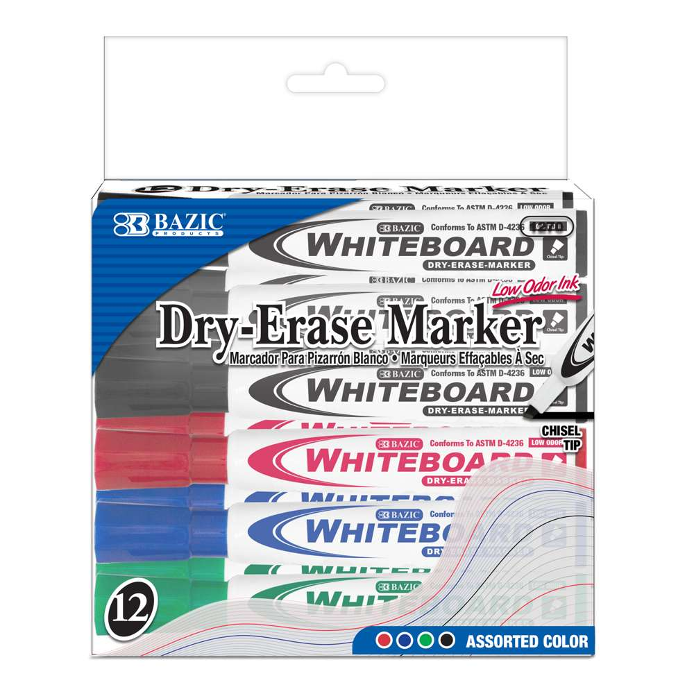 BAZIC Assorted Color Chisel Tip Dry-Erase Markers (12/Box)