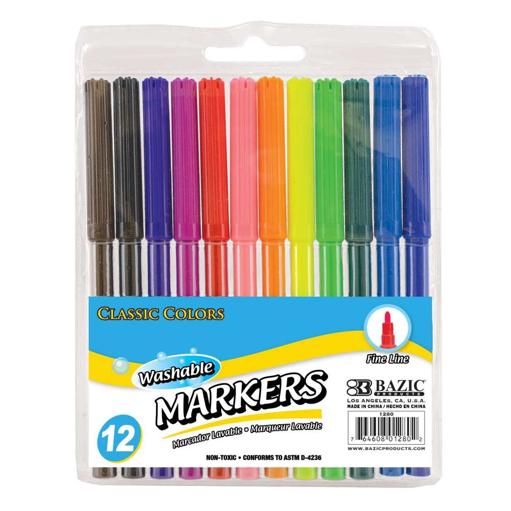 12 Classic Colors Fine Line Washable Markers
