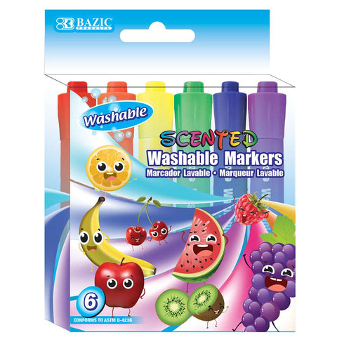 #1285 BAZIC 6 Color Washable Scented Markers