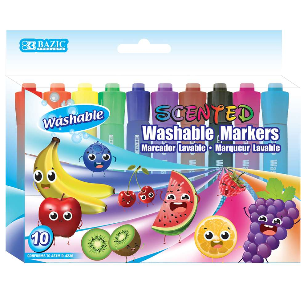 #1286 BAZIC 10 Color Washable Scented Markers