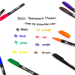 Assorted Colors Fine Tip Permanent Markers w/ Pocket Clip (8/Pack)