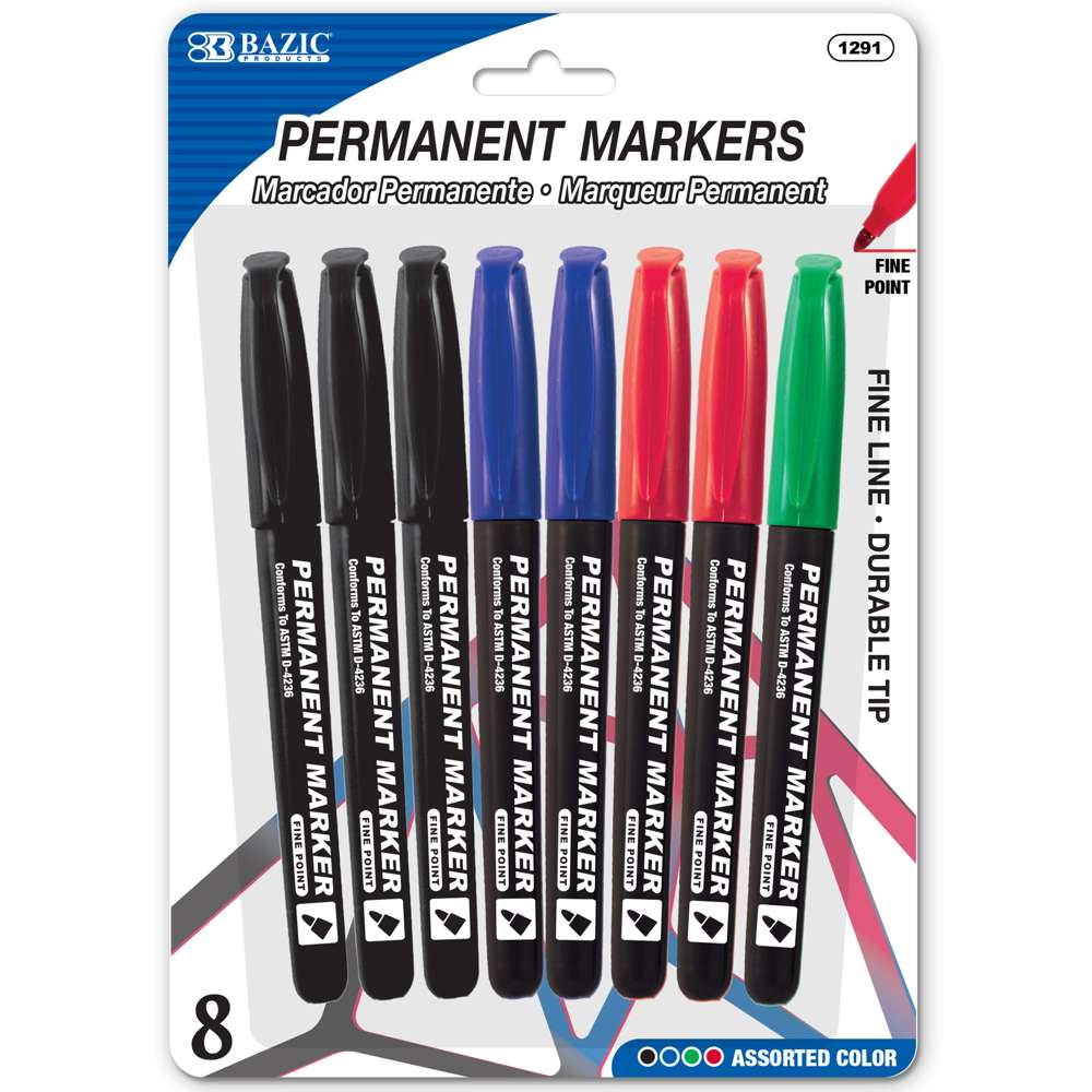 BAZIC Assorted Colors Fine Tip Permanent Markers w/ Pocket Clip (8/Pack)