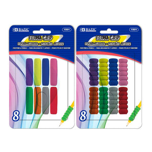 Assorted Color & Shape Foam Pencil / Pen Grip (8/Pack)