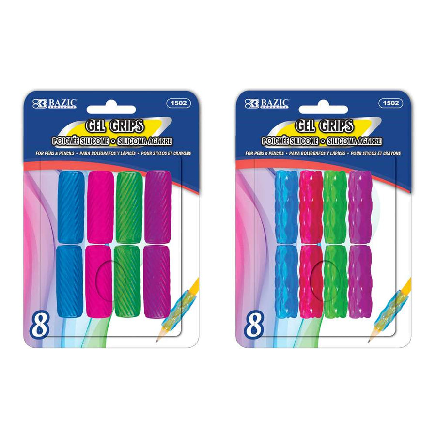 Assorted Color & Shape Gel Pencil / Pen Grip (8/Pack)