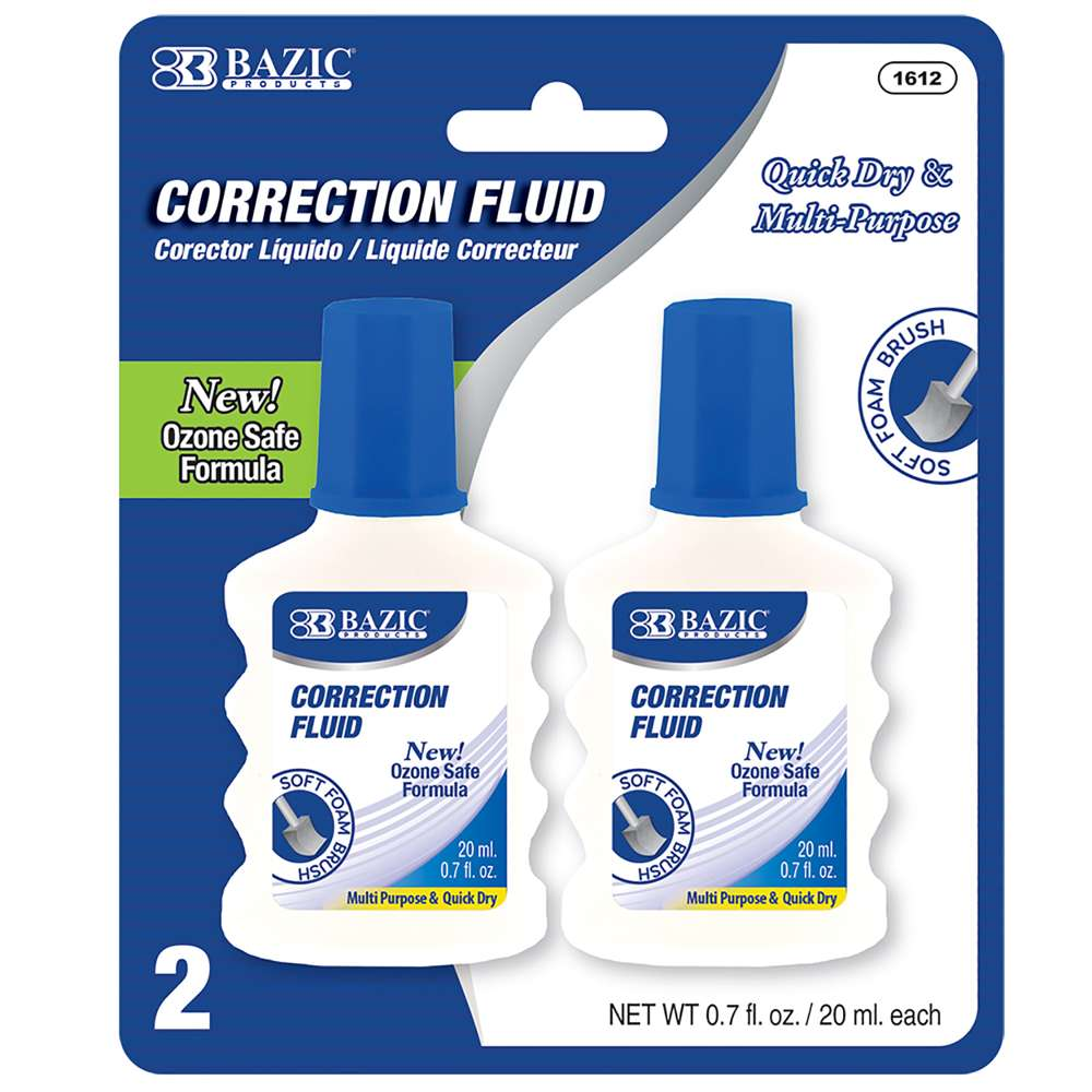 BAZIC 20ml/0.7 fl. oz. Correction Fluid w/ Foam Brush (2/Pack)
