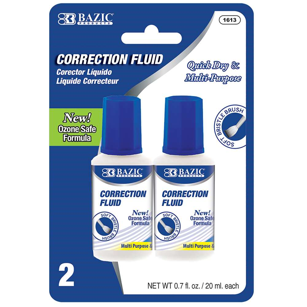 0.7 FL OZ (20 mL) Correction Fluid (2/Pack) - Bazicstore