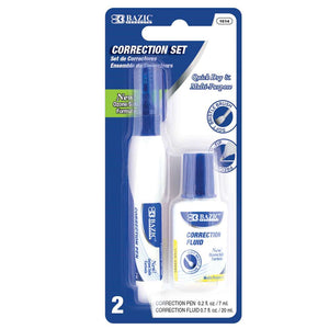 Metal Tip Correction Pen & Correction Fluid (2/Pack)
