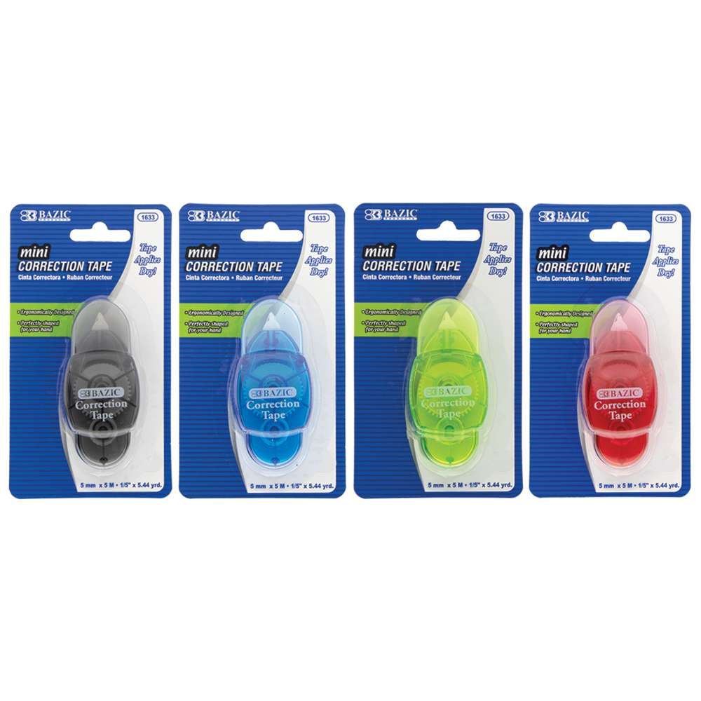 "5 mm x 196"" Mini Correction Tape with Protective Cap - Bazicstore"