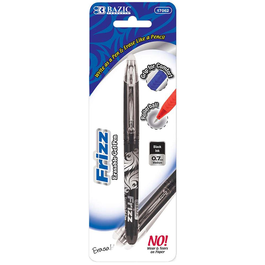 Frizz Black Erasable Gel Pen with Grip - Bazicstore