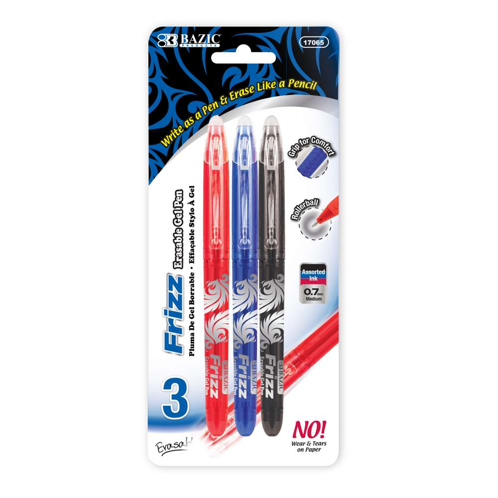 Frizz Assorted Color Erasable Gel Pen with Grip (3/Pack) - Bazicstore