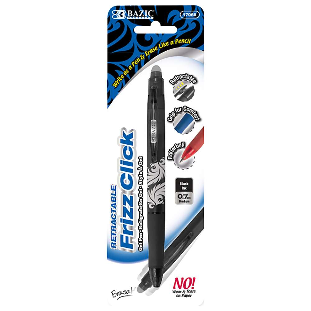 Frizz Black Erasable Gel Retractable Pen with Grip - Bazicstore