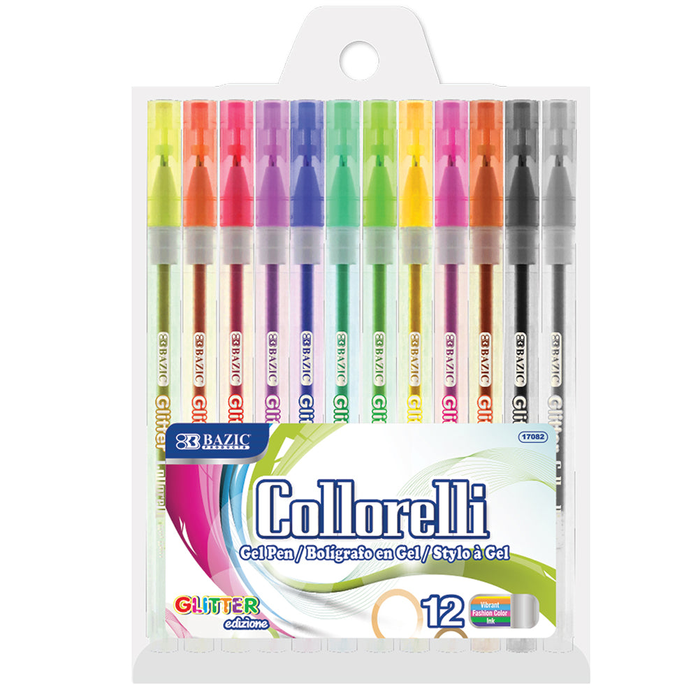 BAZIC 12 Glitter Color Collorelli Gel Pen