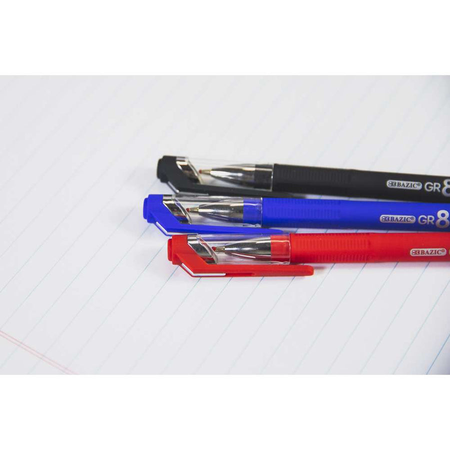 GR8 Assorted Color Oil-Gel Ink Pen w/ Rubberized Barrel (3/Pack) - Bazicstore