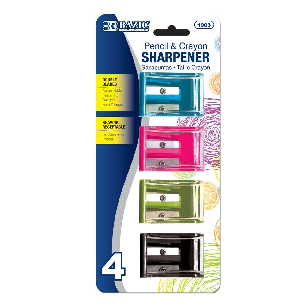 Dual Blades Square Sharpener w/ Receptacle (4/Pack)