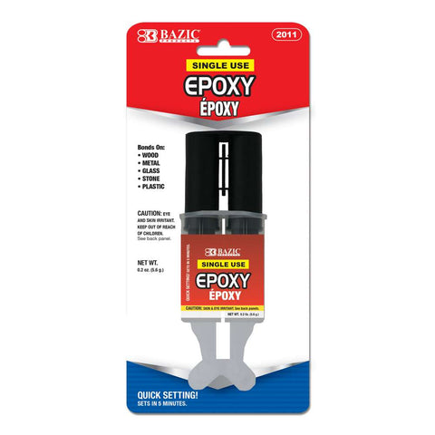BAZIC 0.2 Oz / 5.6g Quick Setting Epoxy Glue w/ Syringe Applicator