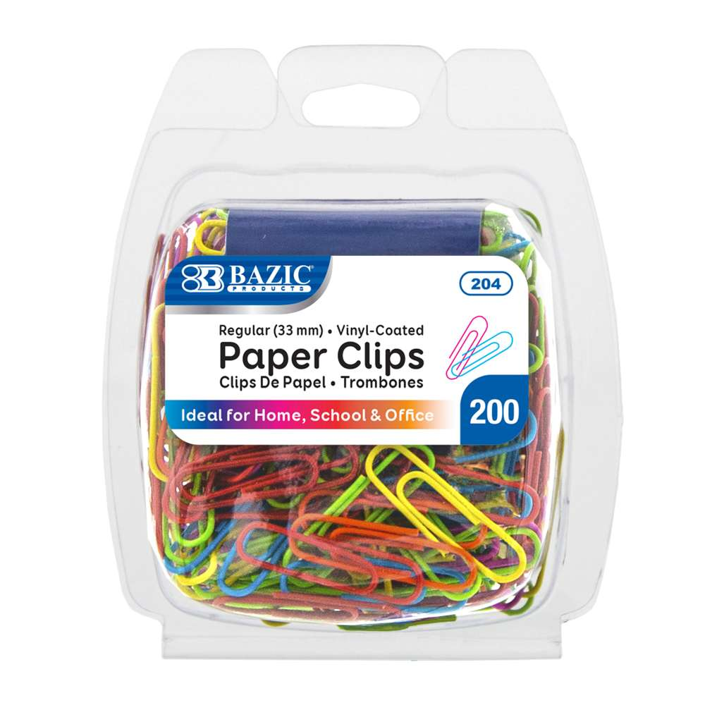 BAZIC No.1 Regular (33mm) Color Paper Clips (200/Pack)