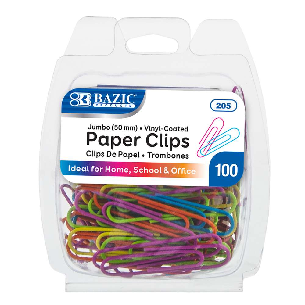 BAZIC Jumbo (50mm) Color Paper Clips (100/Pack)