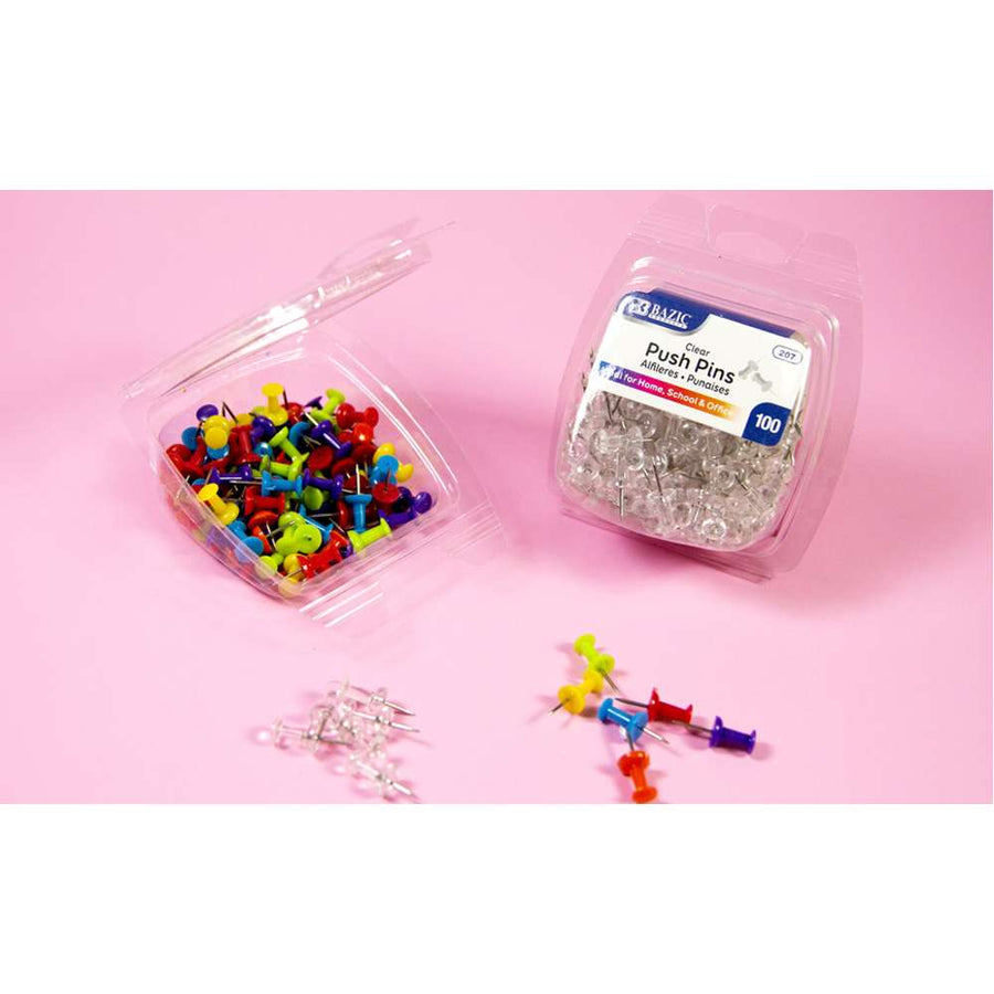 Assorted Color Push Pins (100/Pack) - Bazicstore