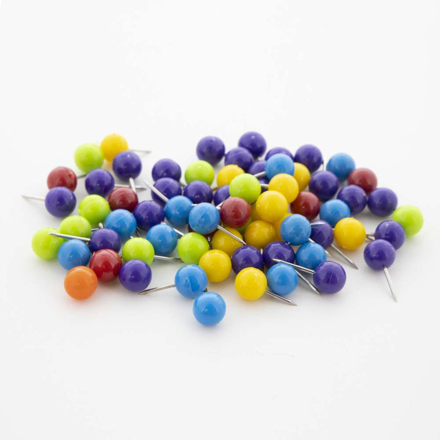 Assorted Color Round Push Pins (80/Pack) - Bazicstore