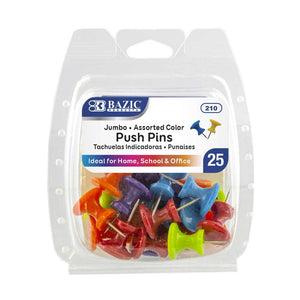 Assorted Color Jumbo Push Pins (25/Pack) - Bazicstore