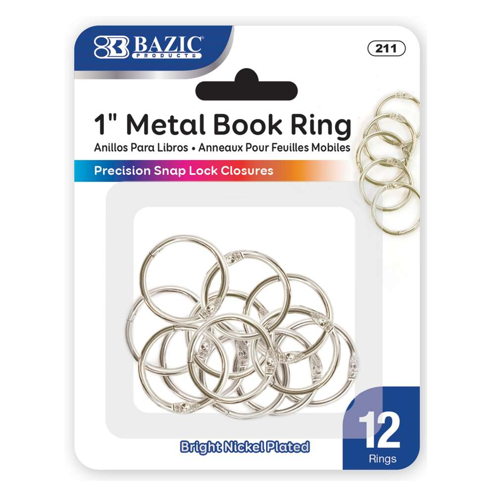 "BAZIC 1"" Metal Book Rings (12/Pack)"