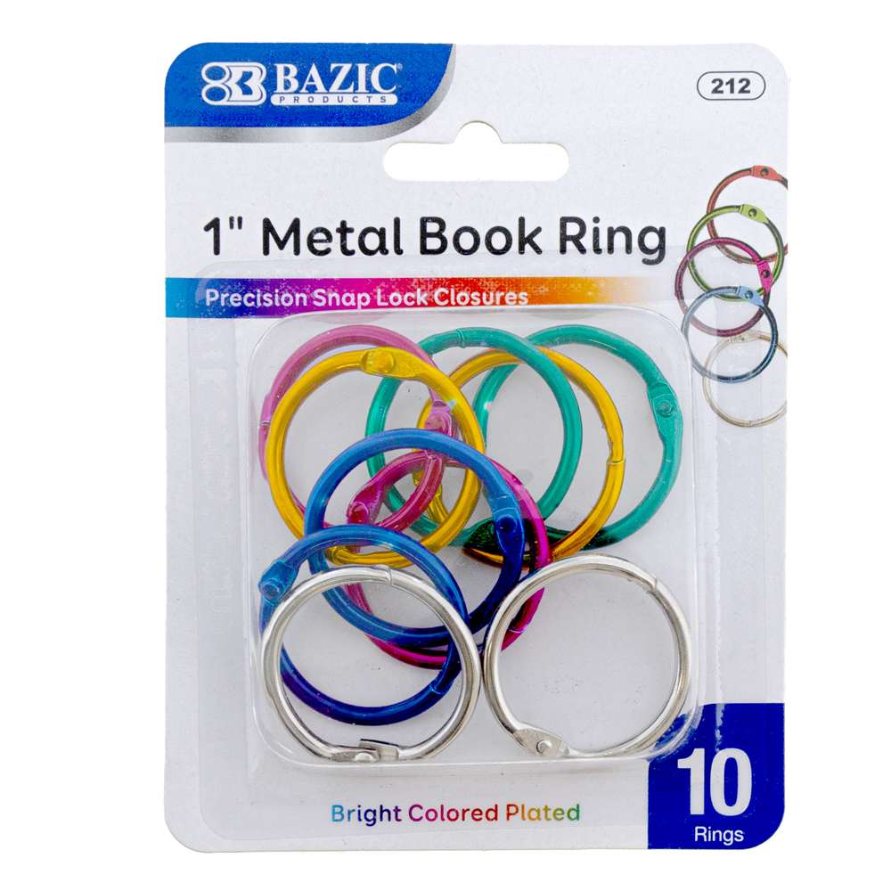 "1"" Assorted Color Metal Book Rings (10/Pack) - Bazicstore"