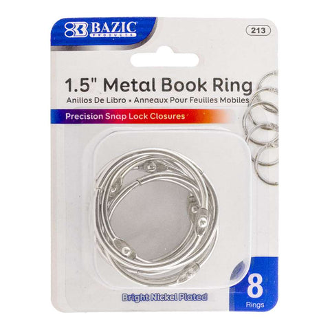 "BAZIC 1.5"" Metal Book Rings (8/Pack)"