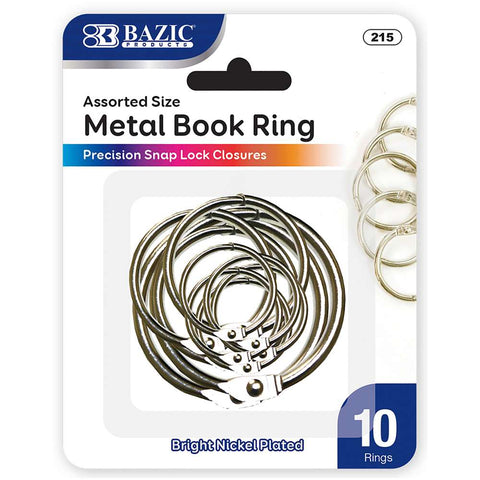 BAZIC Assorted Size Metal Book Rings (10/Pack)
