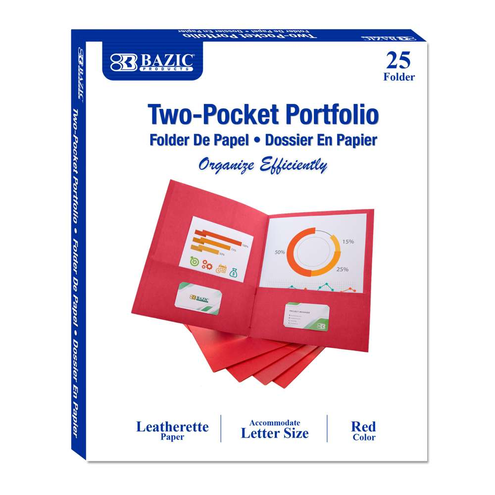Premium Red Color 2-Pockets Portfolios (25/Box)