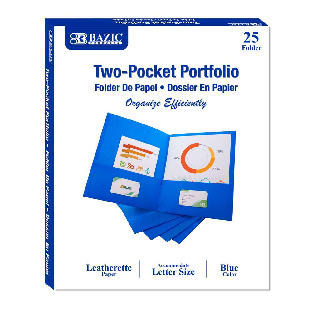 Premium Blue Color 2-Pockets Portfolios (25/Box)