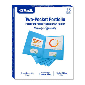 Premium Light Blue Color 2-Pockets Portfolios (25/Box)