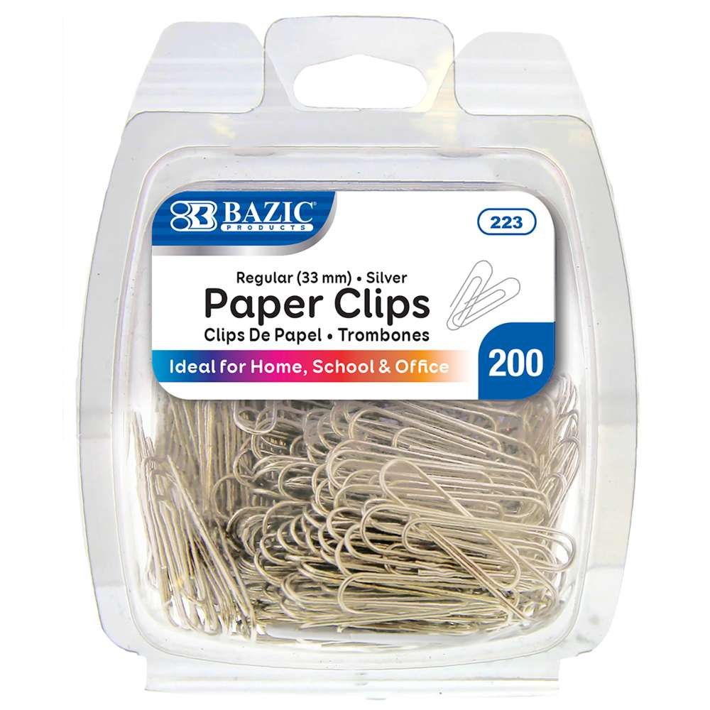 No.1 Regular (33mm) Silver Paper Clips (200/Pack) - Bazicstore