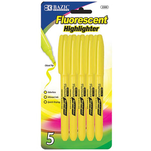 Yellow Pen Style Fluorescent Highlighter w/ Pocket Clip (5/Pk)
