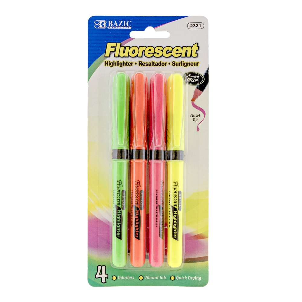 Pen Style Fluorescent Highlighters w/ Cushion Grip (4/Pack) - Bazicstore