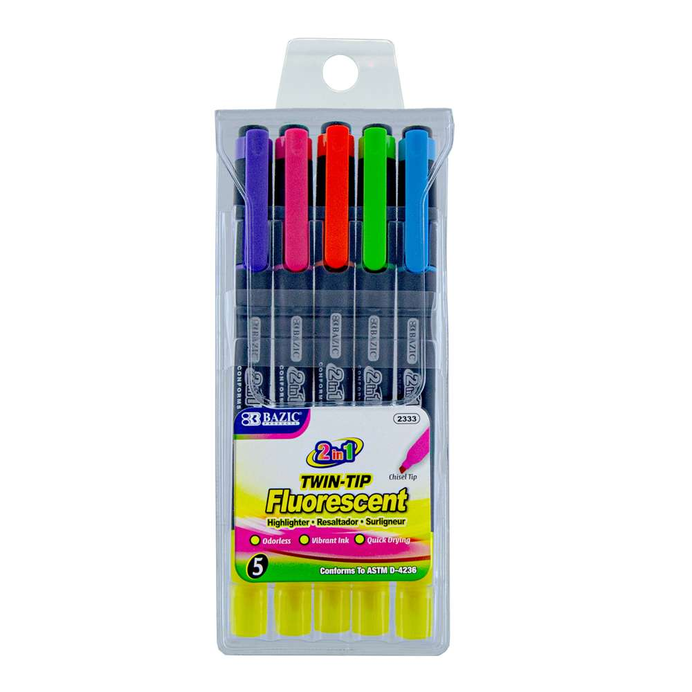 Double Tip Fluorescent Highlighters (5/Pack) - Bazicstore