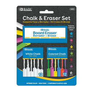 12 Color & 12 White Chalk w/ Eraser Set - Bazicstore