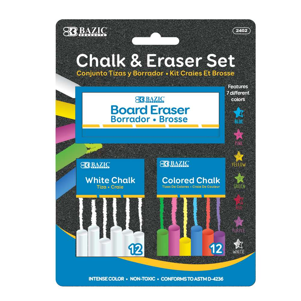 12 Color & 12 White Chalk w/ Eraser Set