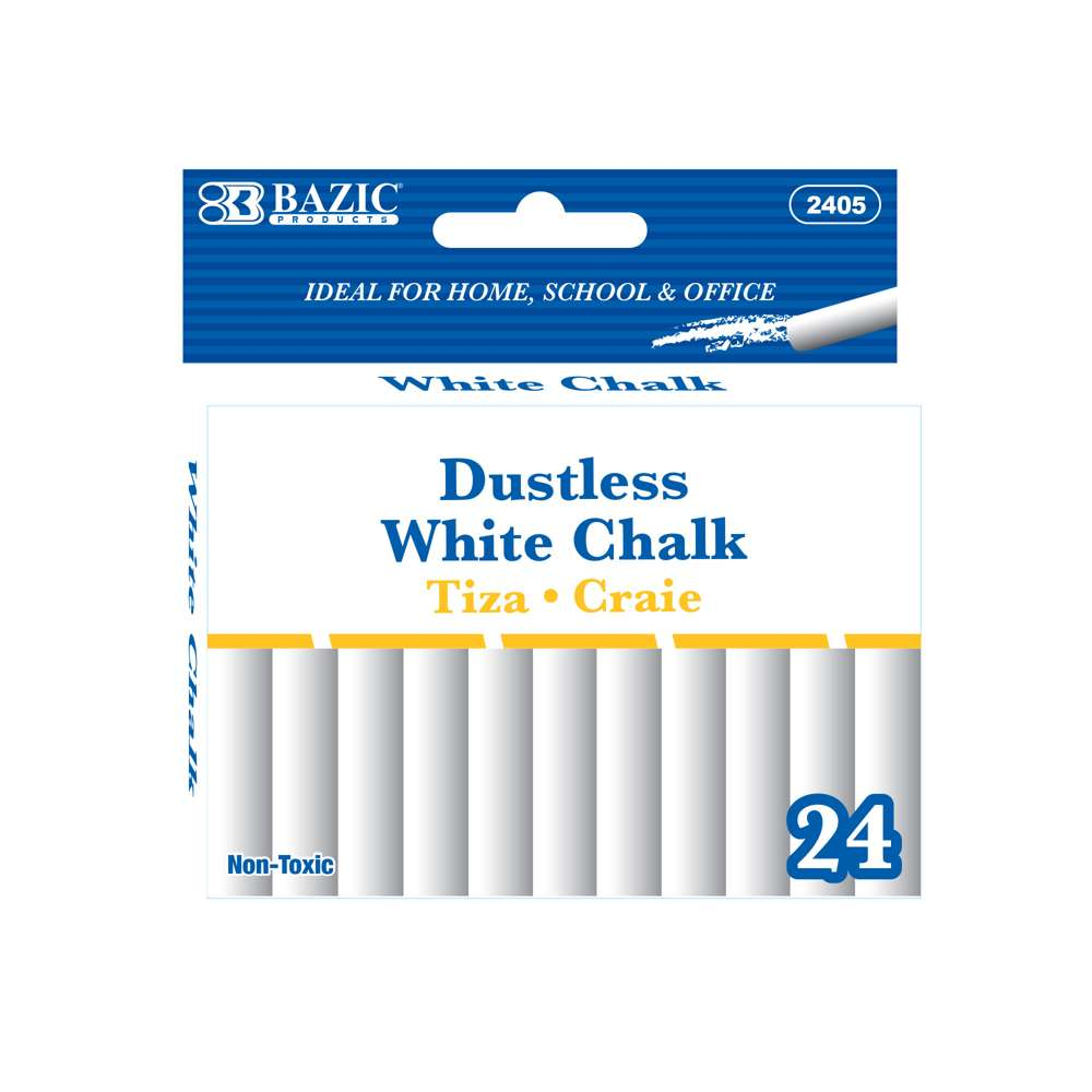Dustless White Chalk (24/Pack) - Bazicstore