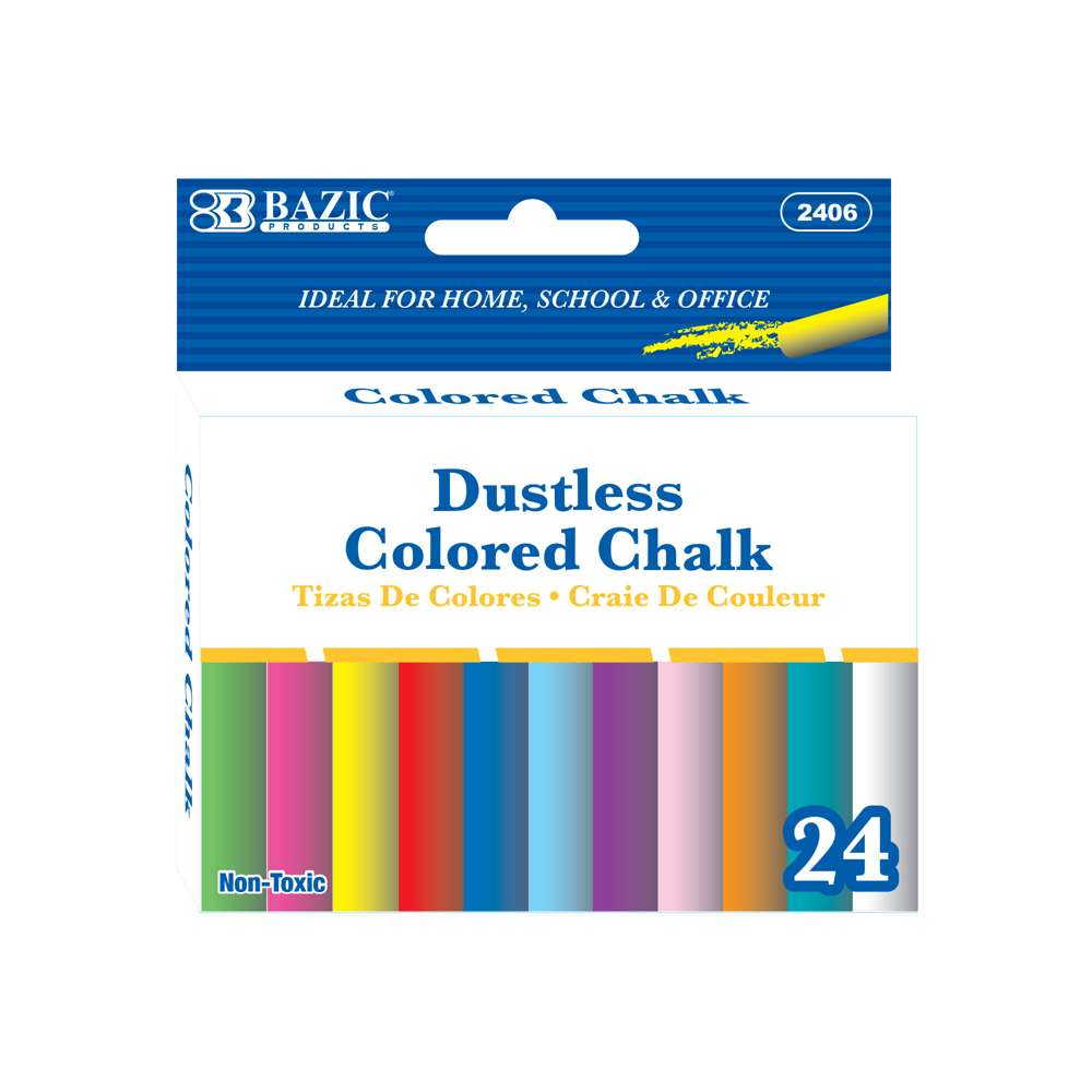 Dustless Assorted Color Chalk (24/Box) - Bazicstore