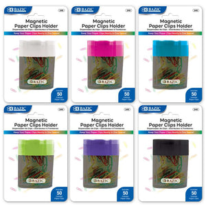 Magnetic Paper Clips Holder w/ Assorted Color No. 1 Paper Clip - Bazicstore