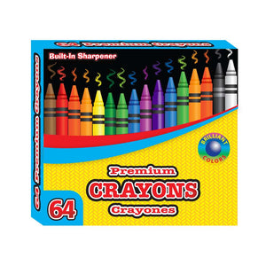 64 Ct. Premium Color Crayons w/ Sharpener - Bazicstore