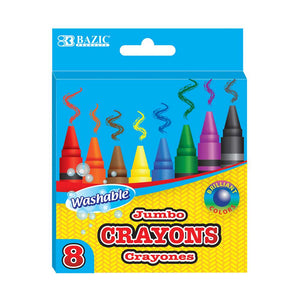 8 Color Washable Premium Jumbo Crayons - Bazicstore