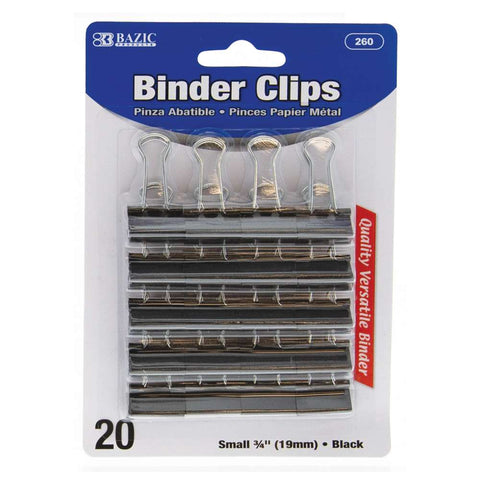 "BAZIC Small 3/4"" (19mm) Black Binder Clip (20/Pack)"